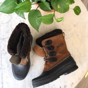 Vintage Sorel Badger Waterproof Tan Fur Trim Boots